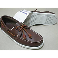 Men's Boat Shoes Comfort Cowhide Tulle Spring Casual Comfort Brown Flat