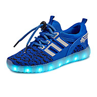 Boys' Sneakers Light Up Shoes Tulle Spring Fall Casual Outdoor Walking Flat Heel Black Green Blue Flat