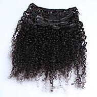 인간의 머리카락 확장 자연 색상 8a 곱슬 곱슬 몽고어 처녀 머리 클립