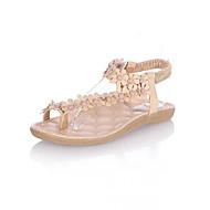 Damen Sandalen Club-Schuhe PU Frühling Sommer Normal Kleid Club-Schuhe Imitationsperle Elastisch Flacher Absatz Weiß Mandelfarben Flach