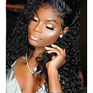 Vrouw Middel Lang Pik zwart Haar Natuurlijke haarlijn Synthetisch haar Kanten Voorkant Natuurlijke pruik