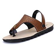 Men's Sandals Comfort PU Spring Fall Winter Casual Comfort Flat Heel Dark Brown Light Brown Flat