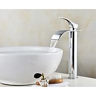 Moderni IntegroituKeraaminen venttiili Yksi kahva yksi reikä for  Kromi , Kylpyhuone Sink hana