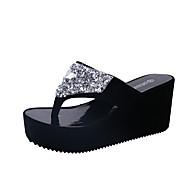 Naiset Sandaalit Comfort PU Kevät Kesä Kausaliteetti Puku Comfort Tasapohja Valkoinen Musta Fuksia Pinkki Tasapohja