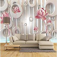 Specialdesign Blomst 3D Print Baggrund Til hjem Moderne / Nutidig Vægbeklædning , Lærred Materiale Lim påkrævet tapet , Værelse Tapet