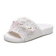 Damen Flache Schuhe Fersenriemen Leinwand Sommer Outddor Lässig Kleid Walking Strass Imitationsperle Niedriger Absatz Weiß SchwarzUnter