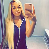 Női Emberi hajból készült parókák Brazil Emberi haj Csipke eleje Tüll homlokrész 130% Sűrűség Tincselve Egyenes Paróka Fekete / Bleach