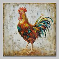 מצויר ביד בעלי חייםמופשט (אבסטרקטי) מודרני / עכשווי פנל אחד בד ציור שמן צבוע-Hang For קישוט הבית