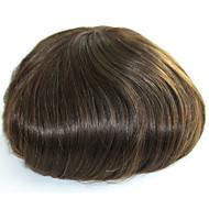Hud menns hår toupee menneskehår stykker for menn farge 4 # ekte hår toupee for menn perle hår erstatning