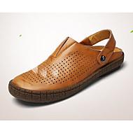 Homme Sandales Confort trou Chaussures Tulle Cuir Printemps Décontracté Noir Jaune Plat