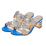 Ženske Sandale PU Ljeto Hodanje Svjetlucave šljokice Kockasta potpetica Crn Plava Navy Plava Do 2.5 cm