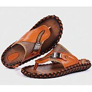 メンズ スリッパ&フリップ・フロップ コンフォートシューズ レザー 春 カジュアル ブラック オレンジ Brown フラット