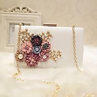 nők este táska pu minden évszakban esemény / party&Este klub baguette virág mágneses barack elpirulva rózsaszín, fekete, fehér