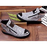 Herrer Sneakers Komfort Tyl Forår Fritid Sort Sølv Flad