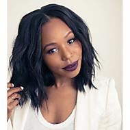 Női Emberi hajból készült parókák Emberi haj 180% Sűrűség Hullámos 360° frontális Paróka Fekete Rövid Közepes Természetes hajszálvonal