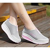 Feminino Sapatos Tule Primavera Conforto Tênis Rasteiro Para Preto Cinzento Roxo Fúcsia
