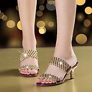 Feminino Sandálias Microfibra Verão Outono Caminhada Pedrarias Gliter com Brilho Salto Agulha Dourado Preto Roxo 5 a 7 cm