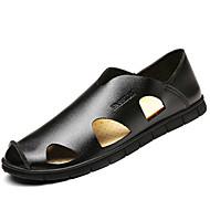 Herre 一脚蹬鞋、懒人鞋 PU Sommer Gange Kombinasjon Flat hæl Svart Gul Brun 5 - 7 cm