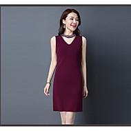 Damen Hülle Kleid Chinoiserie Solide Rollkragen Übers Knie Ärmellos Seide Frühling Hohe Hüfthöhe Mikro-elastisch Mittel