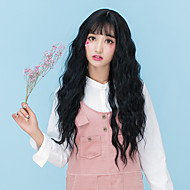 Cheap Women Synthetic Wigs Long Dark Chestnut Brown Grey Wavy Loose Wave Middle Part With Bangs Natural Lolita Wig