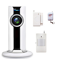 WIFI Home Burglar Security Alarm Systems 180 Degree Fisheye IP Camera CCTV Wireless Phone App Control with SD Card Slot Video Recording
