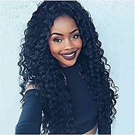 Venda quente de peruca de renda encaracolado e cheia de cabelo preto virgem natural peruca de cor preta com cabelo de bebê para mulheres