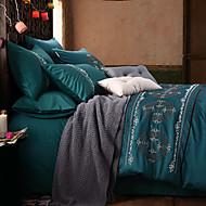 純色 4個 コットン シルク 刺繍 コットン シルク 1×布団カバー 2×枕カバー 1×フラットシーツ