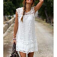 Kadın Günlük Vintage Kılıf Elbise Nakış süslü,Kolsuz Yuvarlak Yaka Diz üstü İpek Yaz Düşük Bel Mikro-Esnek İnce