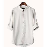 Erkek İnce Keten Dik Yaka Solid Sade Günlük/Sade-Erkek Gömlek