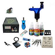 Kits de Tatuagem para Iniciantes 1xMáquina Tatuagem rotativa para linhas e sombras LCD de alimentação 5 x Agulha de Tatuar RL 3Kit