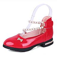 女の子 オックスフォードシューズ レザー 春 夏 イミテーションパール 面ファスナー ローヒール ブラック レッド ピンク フラット