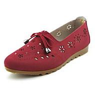 Naiset Mokkasiinit Comfort Kangas Kevät Kesä Kausaliteetti Kävely Comfort Ruseteilla Tasapohja Ruskea Punainen Alle 1in