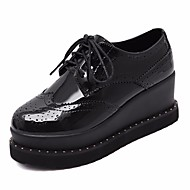 Damer Sneakers Komfort PU Forår Afslappet Komfort Sort Army Grøn Flad