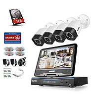 sannce® 8 csatornás 4db 720p időjárásálló biztonsági rendszer 4in1 1080p LCD DVR támogatja TVI analóg ahd ip kamerák 1TB hdd