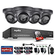 Sannce® 8ch cctv beveiligingssysteem 1080p ahd / tvi / cvi / cvbs / ip 5-in-1 DVR met 4 * 2.0mp camera's 1tb hdd