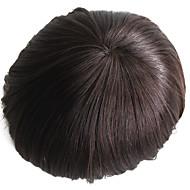 Ekte menneskehår menns toupee color 2 # hairpiece for menn 6 tommer langt hår for menn