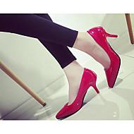 Ženske Cipele na petu Udobne cipele Obične salonke Lakirana koža PU Proljeće Ljeto Kauzalni Obala Crn Pink Bež Crvena 10 cm - 12 cm