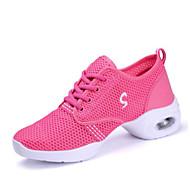 Kadın Dans Sneakerları Hava Alan File Tül Babetler Topuklular Egzersiz Beyaz Siyah Fuşya