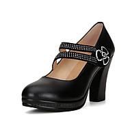 """נשים עקבים נעליים פורמלית עור אמיתי אביב סתיו שמלה מסיבה וערב ריינסטון אבזם עקב עבה שחור ס""""מ 5 - ס""""מ 7"""