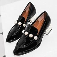Dame Flate sko Komfort Kampstøvler PU Vår Avslappet Komfort Kampstøvler Svart Gul Rød 5 - 7 cm