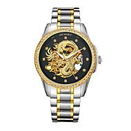 Heren Modieus horloge Japans Automatisch opwindmechanisme Waterbestendig Hol Gegraveerd s Nachts oplichtendRoestvrij staal 24 Karaats