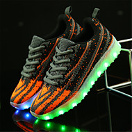 Boys' Sneakers Light Soles Light Up Shoes Tulle Spring Summer Casual Outdoor Walking Flat Heel Black Black/White Orange/Black Flat