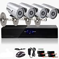 ערכת אולטרה DVR CCTV 4CH מחיר הנמוך (4 מצלמות צבע 600tvl עמיד למים חיצוניים)
