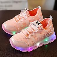 Meisjes Sneakers Oplichtende schoenen Leer Tule Lente Zomer Herfst Causaal Wandelen Oplichtende schoenen LED Lage hak Wit Zwart RozeOnder