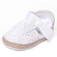 Baby Flate sko Komfort Tekstil Sommer Høst Bryllup Avslappet Formell Fest/aften Komfort Sløyfe Flat hæl Hvit Gul Fuksia Rosa Flat