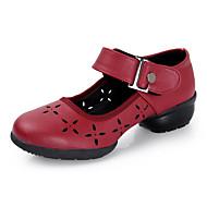 Femme Bottes de Danse Similicuir Sandales Baskets Professionnel Fleurs Talon Bas Noir Rouge 5,1 à 7cm Personnalisables