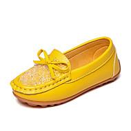 Mädchen Loafers & Slip-Ons Komfort Mokassin PU Frühling Herbst Normal Kleid Komfort Mokassin Strass Schleife Flacher Absatz Weiß Gelb Rosa