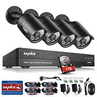 Sannce® 8 kanallı CCTV güvenlik sistemi onvif 1080p ahd / tvi / cvi / cvbs / ip 5-in-1 dvr ile 4 TB 2.0dB kamera ve 1 tb hdd