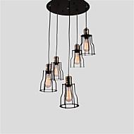 5 kop vintage zwarte metalen kooi schaduw hanger lichten woonkamer eetkamer licht armatuur