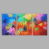 Pintados à mão Floral/Botânico Vertical,Abstracto 3 Painéis Tela Pintura a Óleo For Decoração para casa